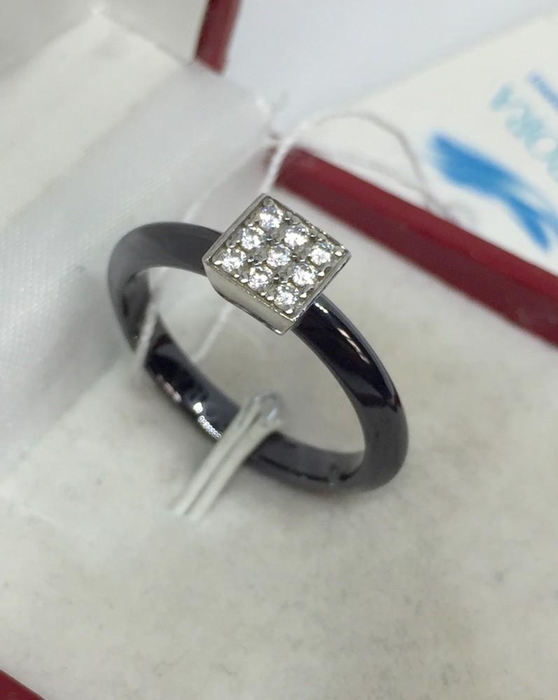 Новое родированое серебряное кольцо керамика фианиты серебро 925 пробы фото №1