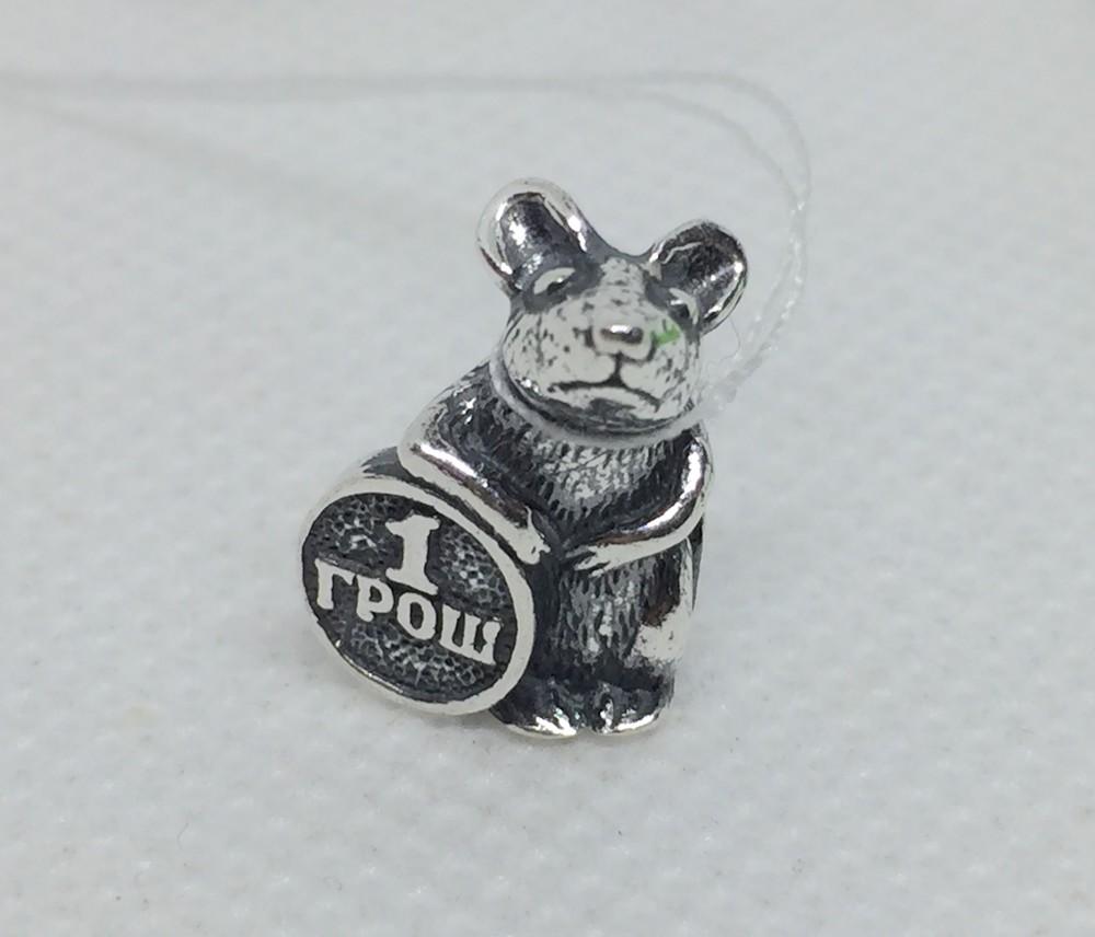 Новый серебряный подвес мышь кошельковая грош серебро 925 пробы фото №1
