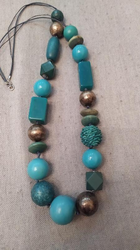 Шикарное колье, ожерелье, бусы темно бирюзового цвета, италия фото №1