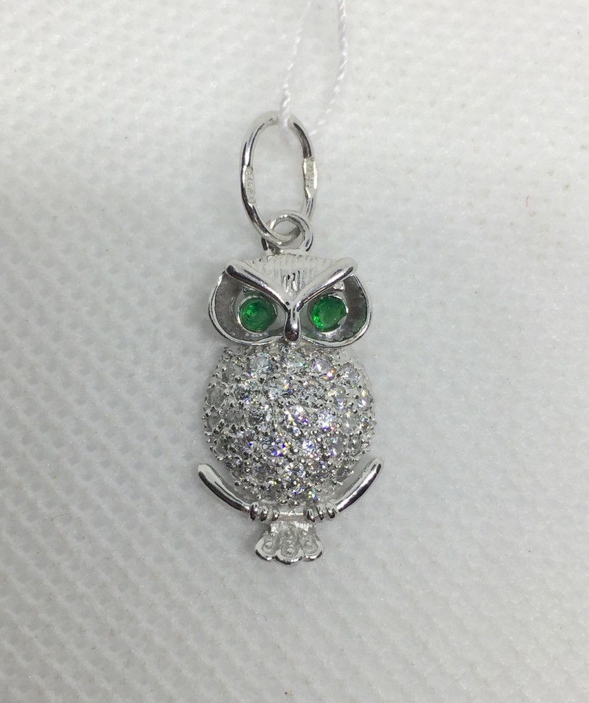 Новый родированый серебряный подвес сова куб.цирконий серебро 925 пробы фото №1