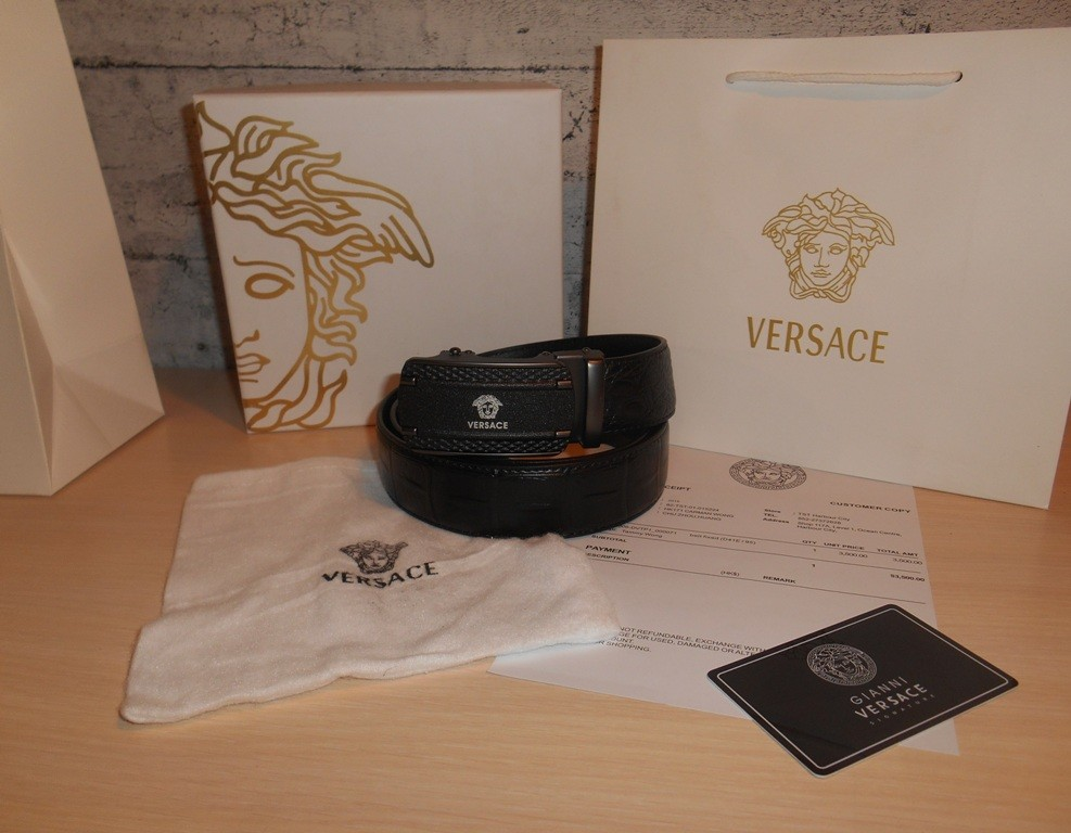 Ремень пояс мужской versace кожа, италия, оригинал фото №1
