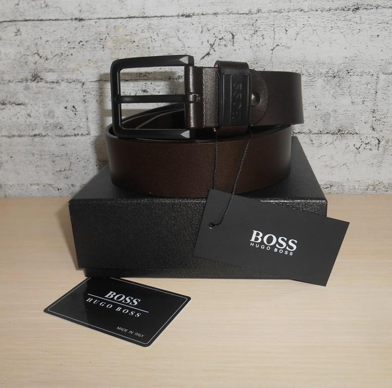 Мужской ремень пояс hugo boss, кожа, италия 106 фото №1
