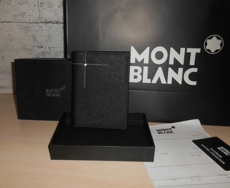 Мужской кошелек, обложка для документов, паспорта портмоне mont blanc, кожа, италия фото №1