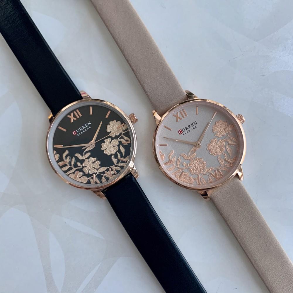 Женские наручные часы curren blanche каррен искусственная кожа черные бежевые с цветами фото №1