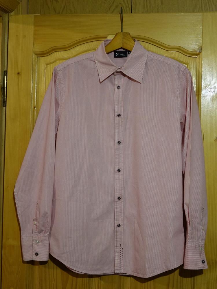 Изящная приталенная фирменная розовая рубашка checker for men сша m. фото №1