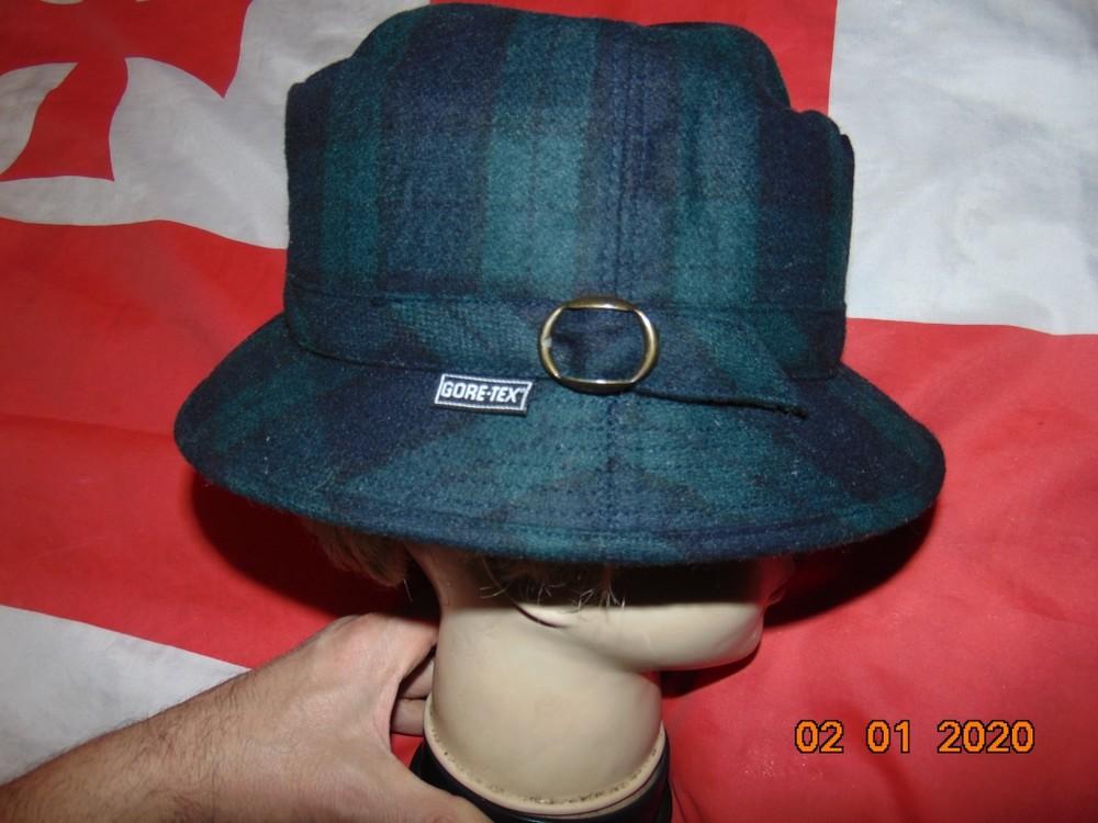 Стильная фирменная нарядная шляпа шапка шерсть-лен бренд gore-tex .л-хл .57-58 . фото №1
