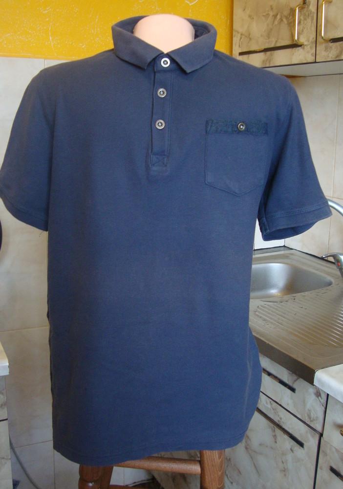 Тенниска поло сине-серая livergy s 100%котон фото №1