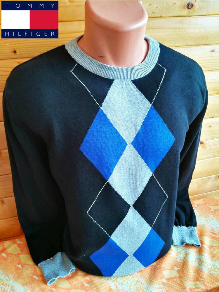 Стильный свитер с принтом в ромб tommy hilfiger , оригинал фото №1