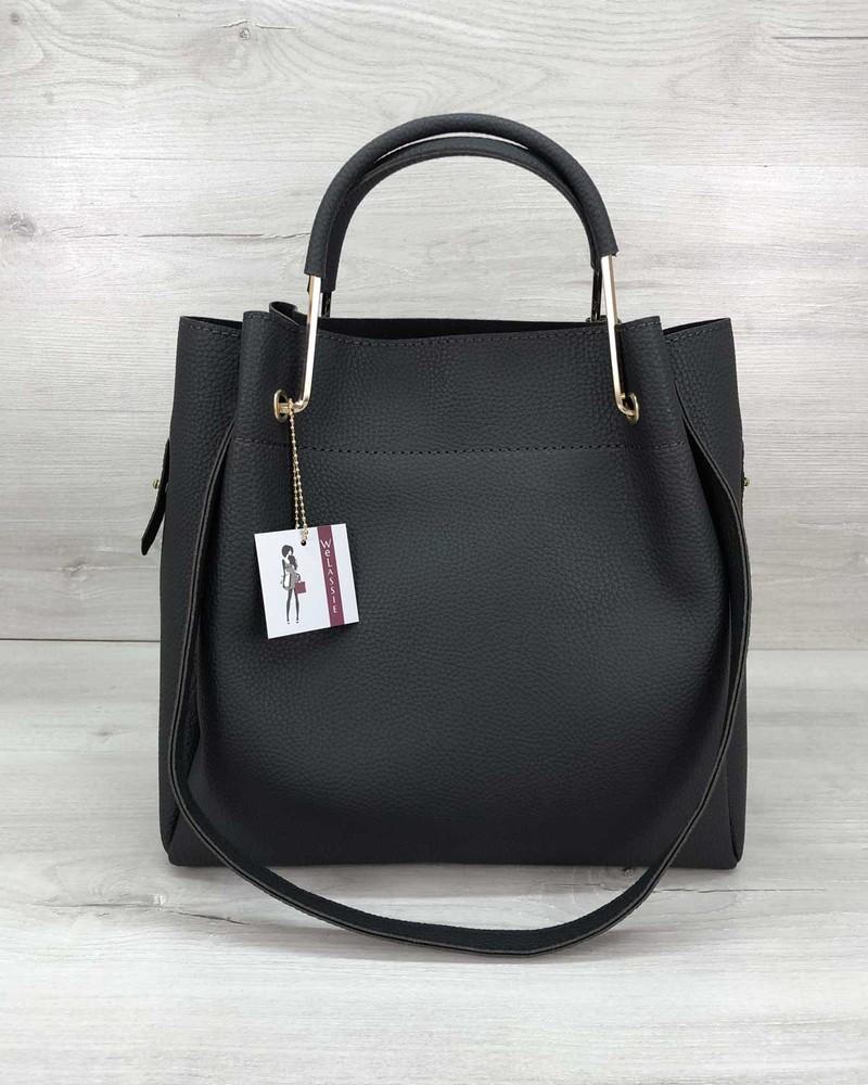Черная сумка с металлическими ручками и косметичкой фото №1