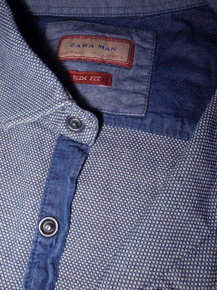 Мужская рубашка стильная в узорчик на кнопках zara man l slim фото №1