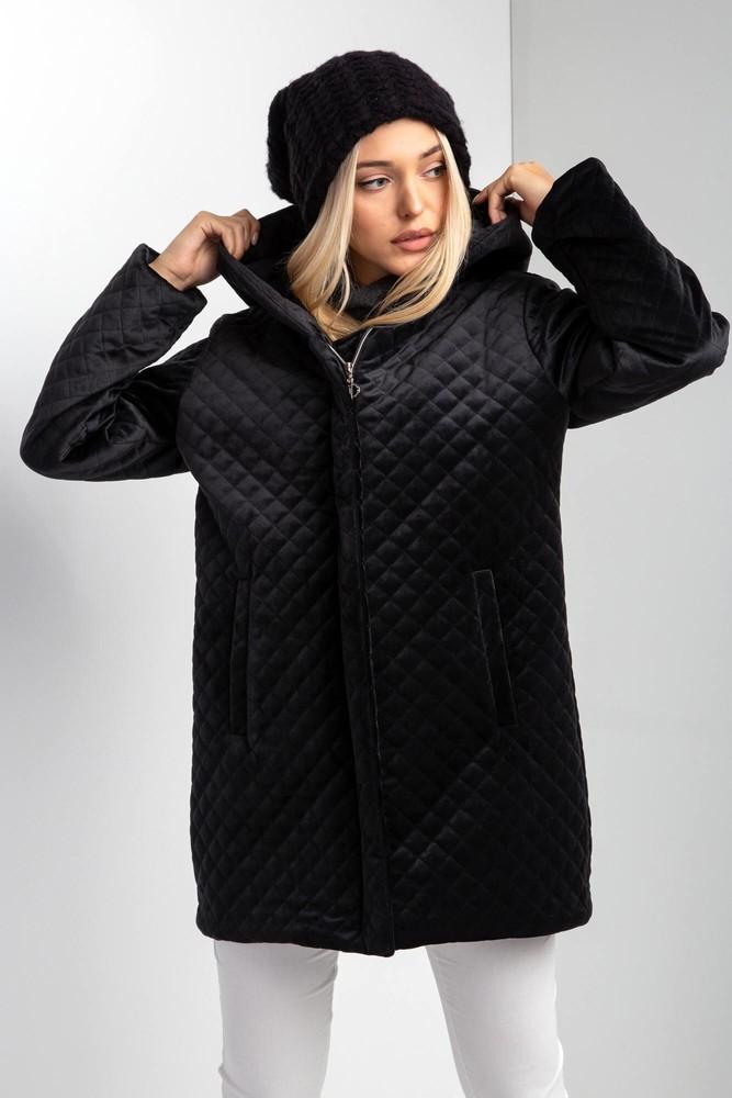 Стеганая демисезонная куртка из велюра с капюшоном в расцветках фото №1