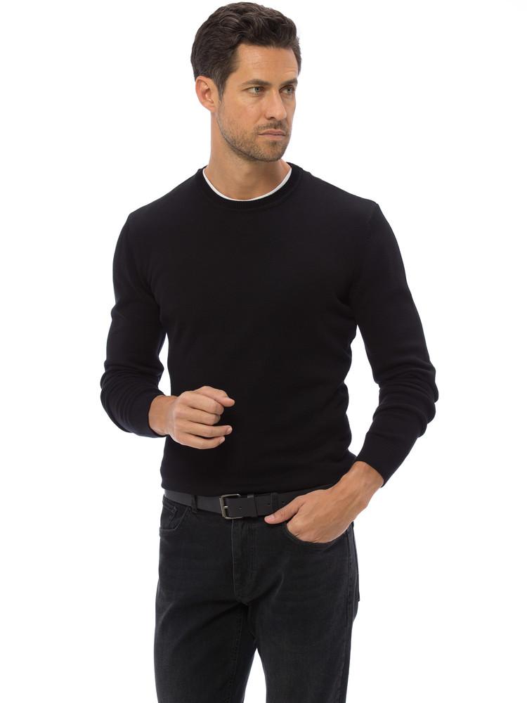 Черный мужской свитер lc waikiki / лс вайкики с круглым воротом фото №1