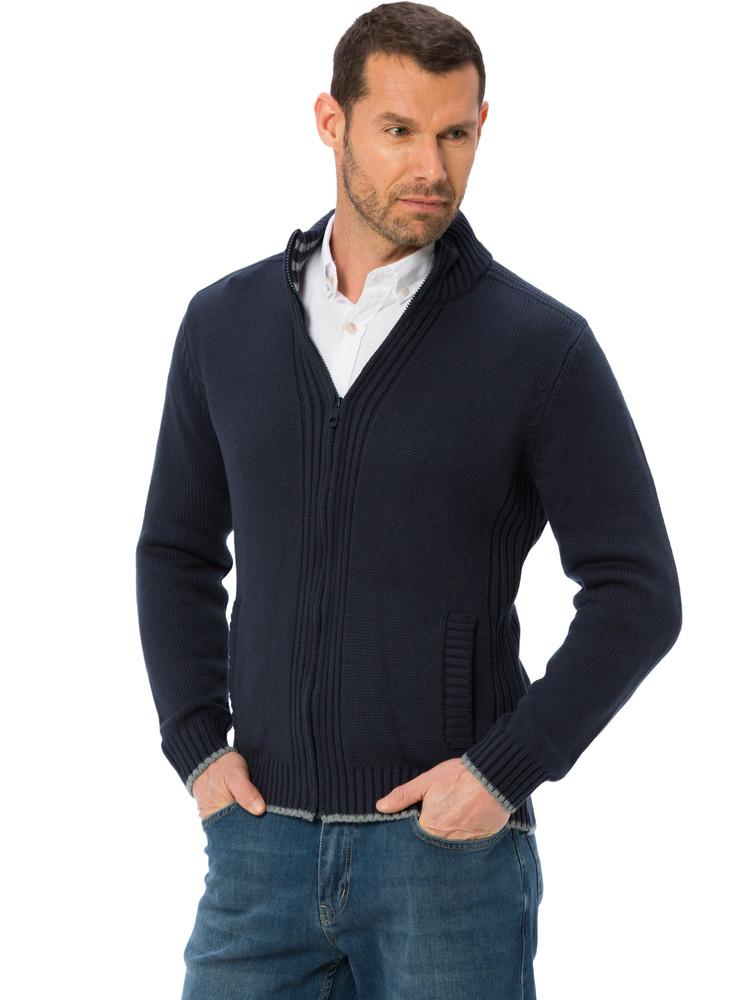 Темно-синяя мужская кофта lc waikiki / лс вайкики с 2-мя карманами, на молнии фото №1