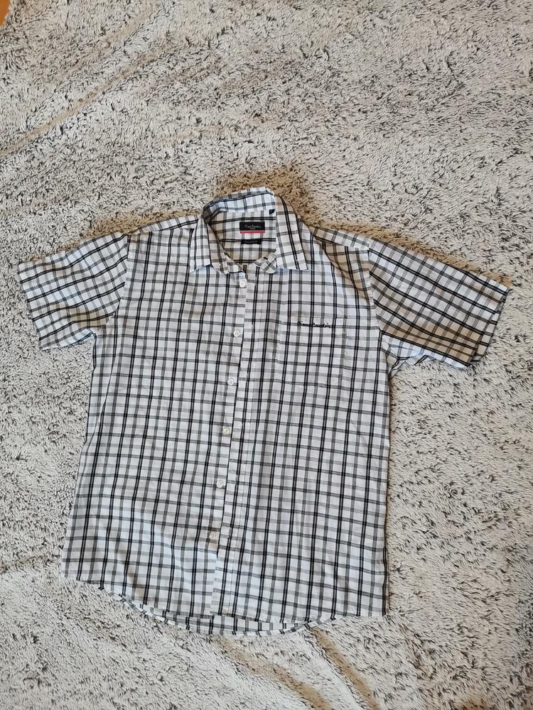 Рубашка летняя, рубашка коротний рукав, pierre cardin, клетка фото №1