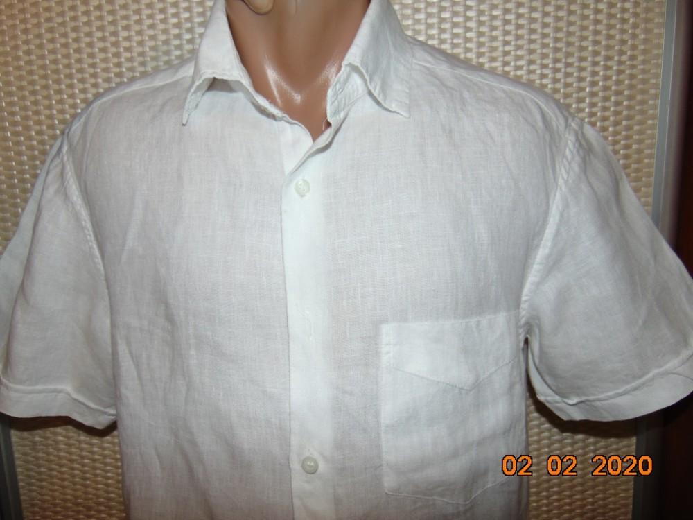 Брендовая стильная нарядная льняная шведка рубашка сорочка marks&spencer.с-м . фото №1