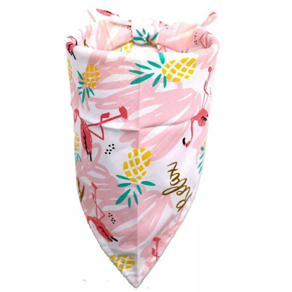 Нагрудник бандана шарф косынка для собак щенков тропический принт с фламинго и надписью relax фото №1