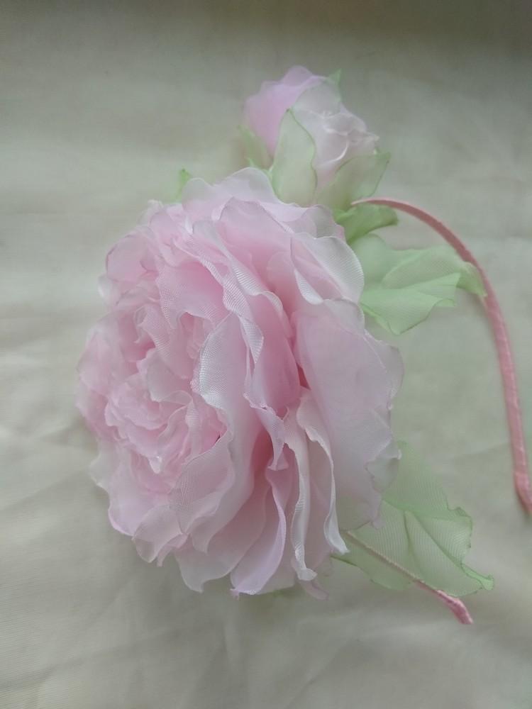 Обруч розовая роза, веночек, троянда, цветы из шифона фото №1