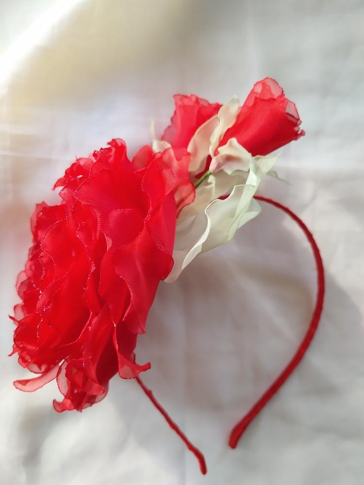 Обруч красная роза, ободок, веночек с розой, цветы из шифона фото №1