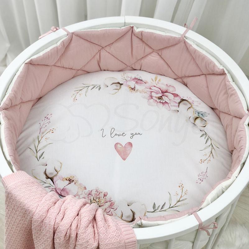 Бортики стеганые в люльку, овальную, круглую кроватку пудра фото №1