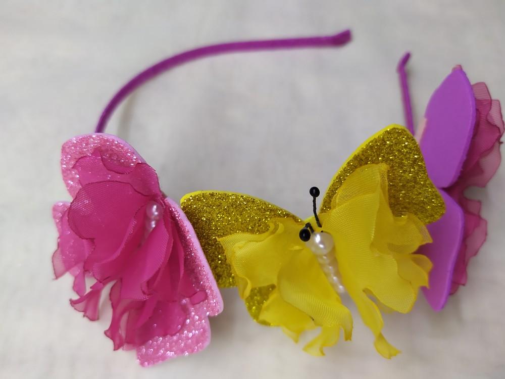 Обруч бабочка, метелик, ободок с бабочками из фоамирана фото №1