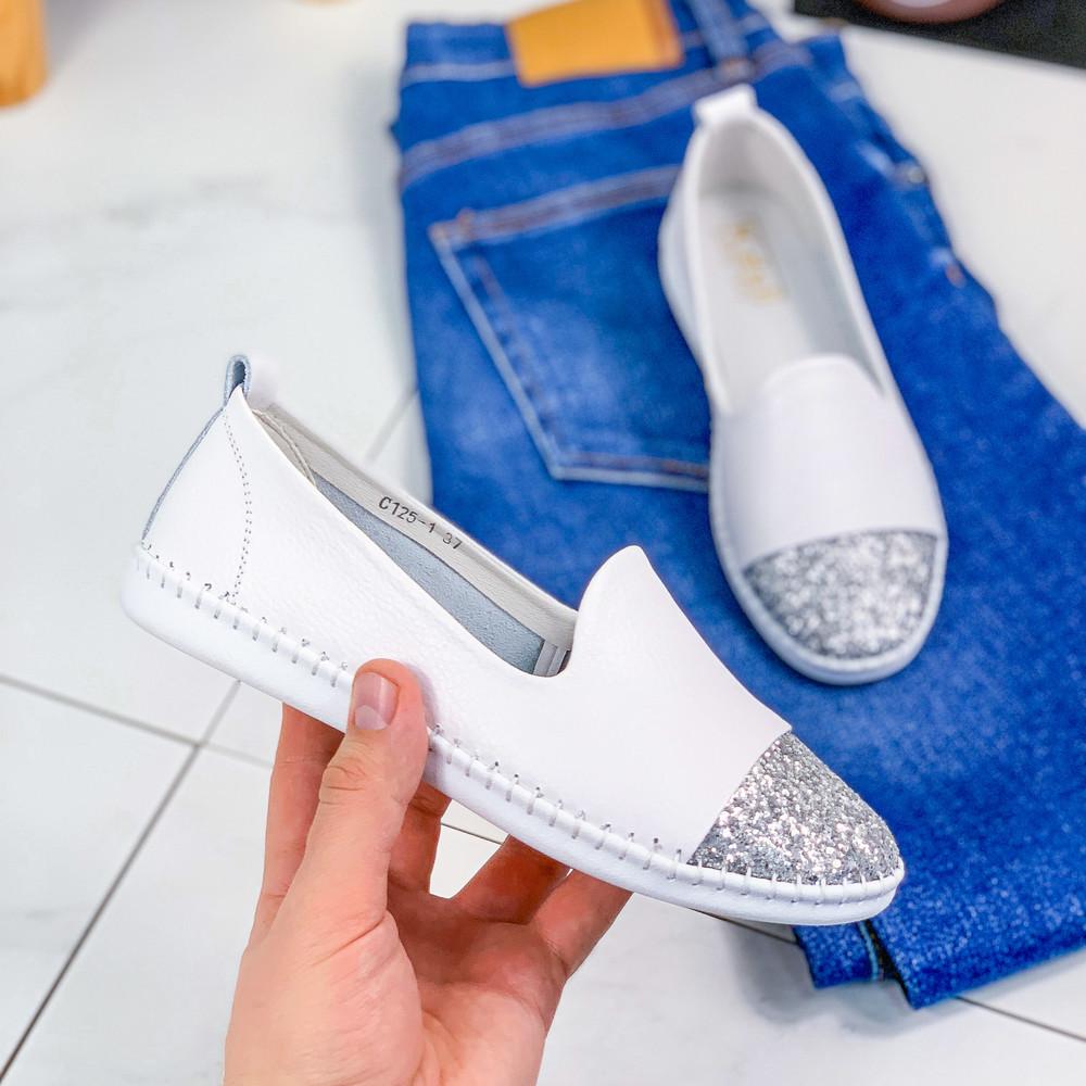 Туфли балетки очень мягкие lorri белые + серебро фото №1