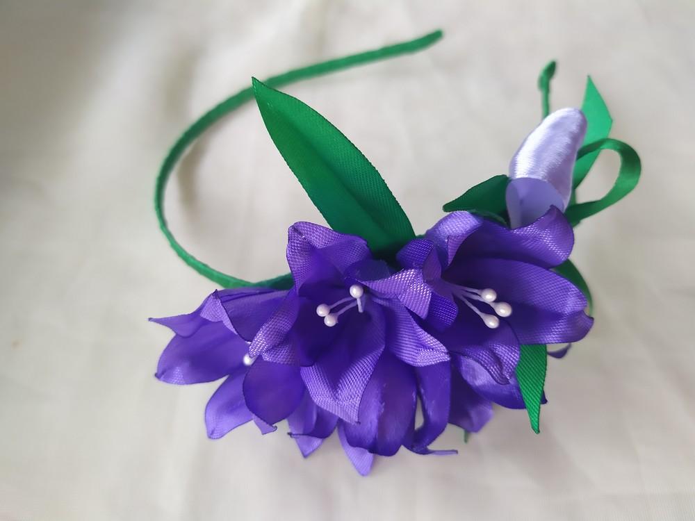 Обруч колокольчик, обруч дзвіночки, цветы из лент, веночек на голову фото №1