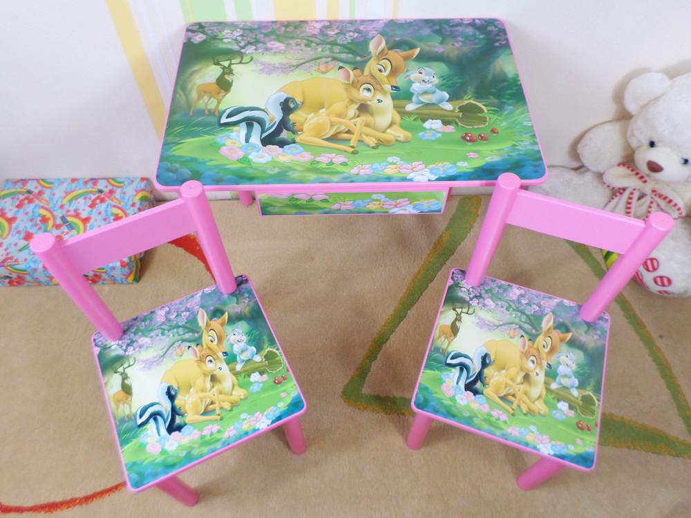 """Комплект детской мебели """"лесная поляна"""" столик-парта и стульчик (стол стул) от 2 до 7 лет фото №1"""