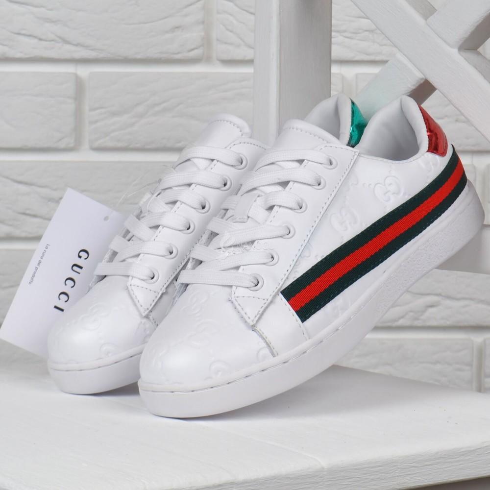 Кеды женские кожаные белые gucci style кроссовки фото №1