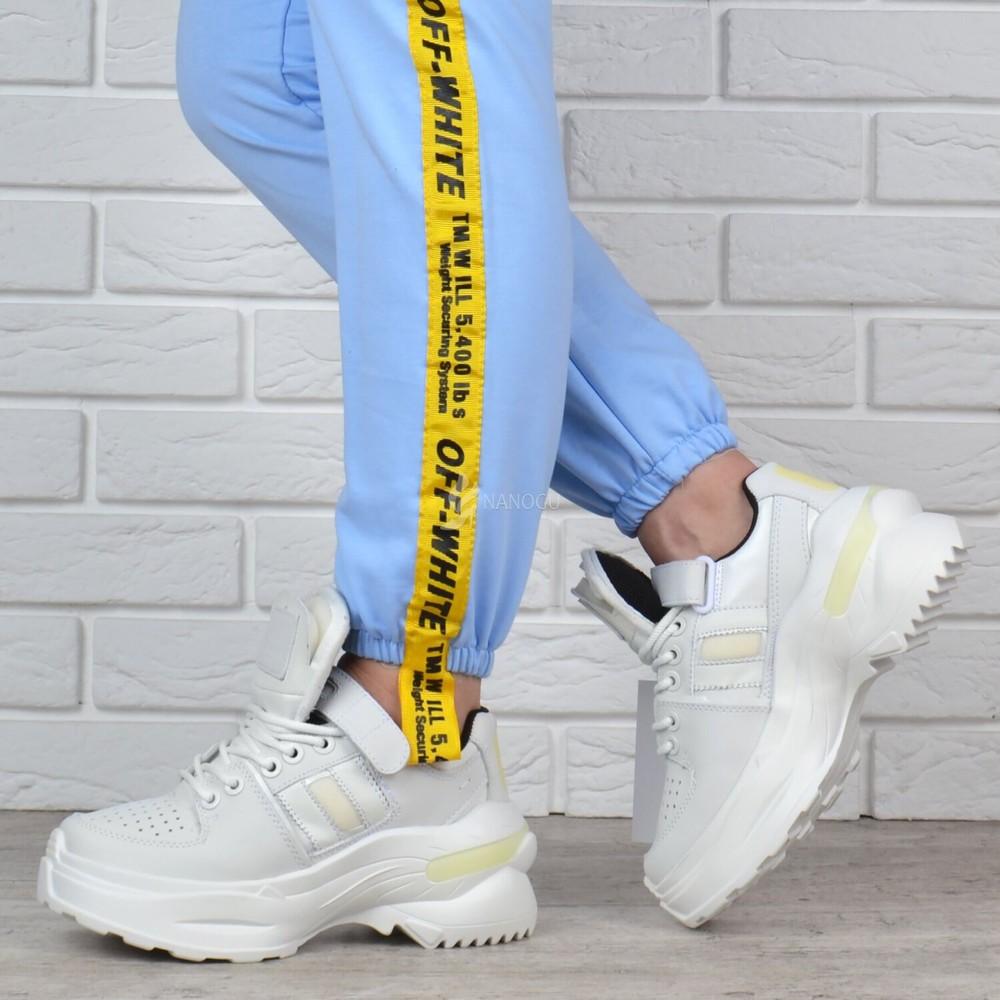 Кроссовки женские кожаные на платформе maison margiela style белые фото №1