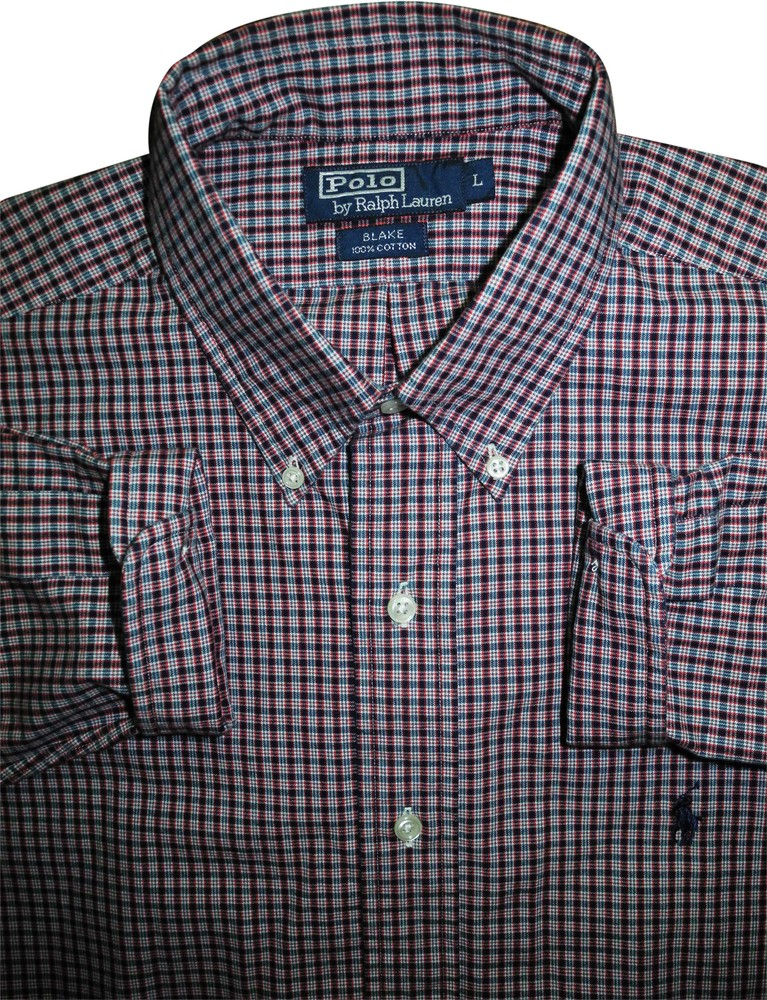 Мужская рубашка в мелкую клетку сочная polo ralph lauren l xl xxl фото №1