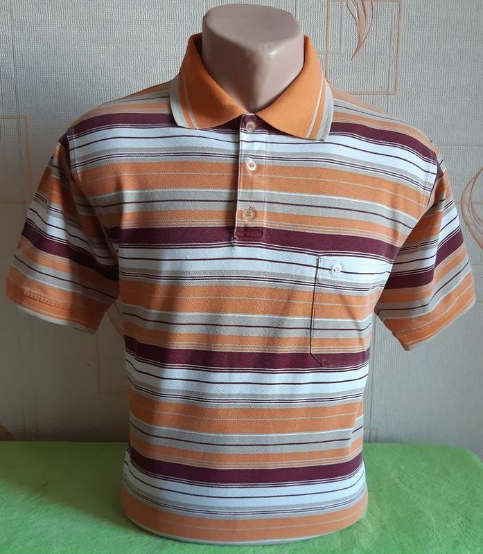 Фирменная футболка поло оранжевого цвета в полоску pierre cardin made in europe фото №1