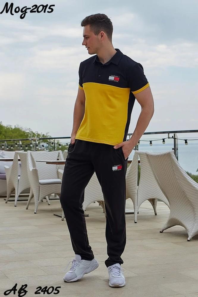 Мужской летний спортивный костюм: штаны и футболка поло, реплика tommy hilfiger желтый красный синий фото №1