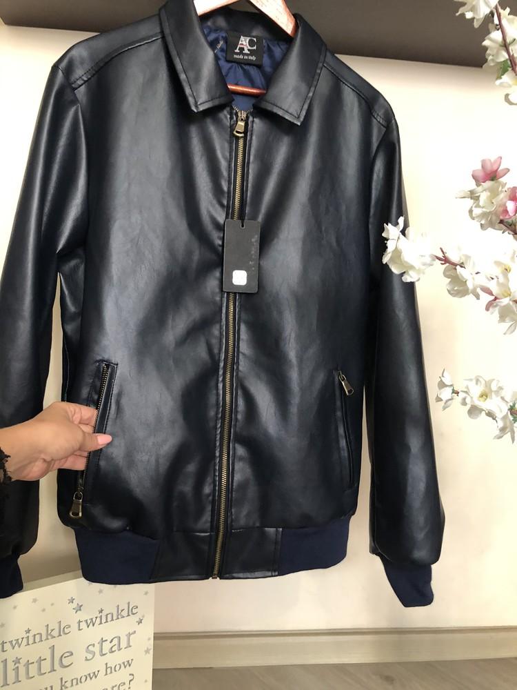 Очень стильная мужская куртка экокожа, кожаная куртка осень весна, фото №1