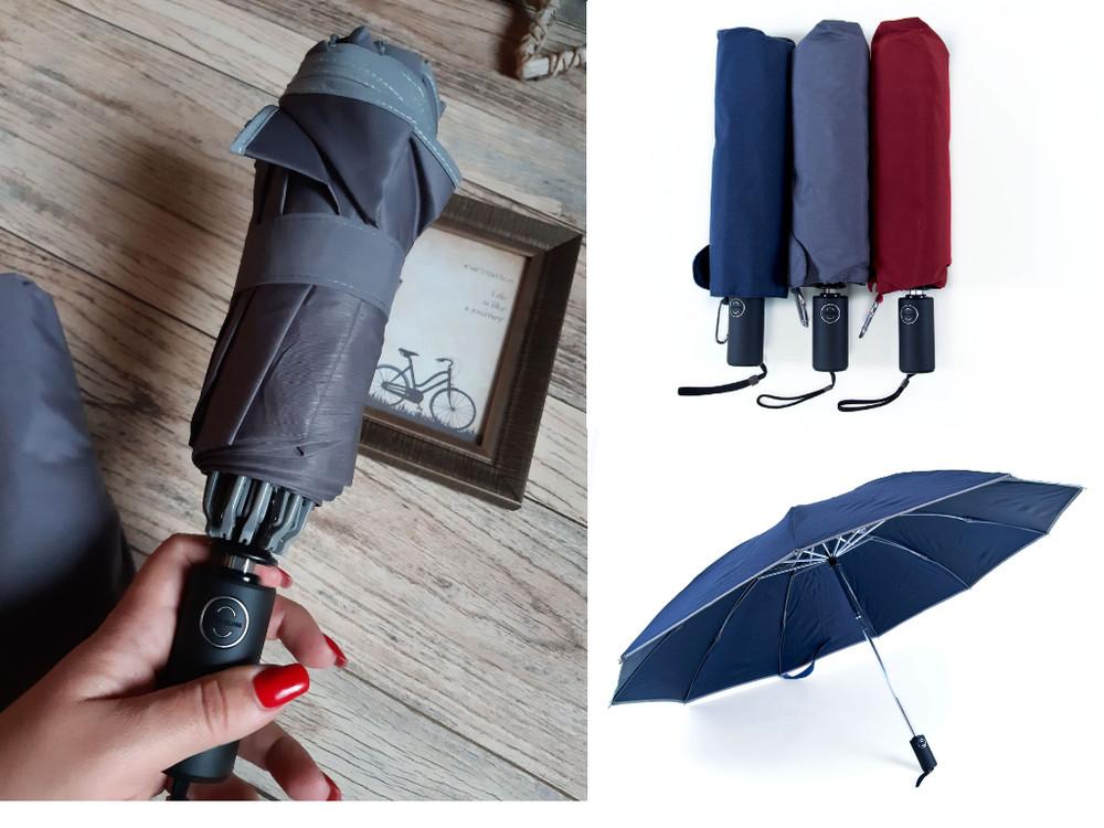 Реверсный складной женский смарт зонт автомат обратного сложения фото №1
