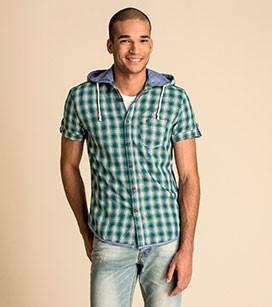 Фирменная молодежная хлопковая рубашка с капюшоном c&a германия фото №1