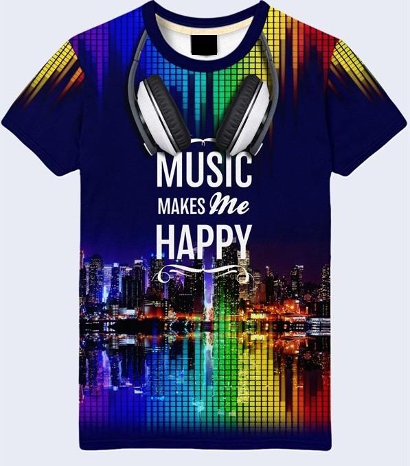 Мужская футболка 3d music night city большой выбор фото №1