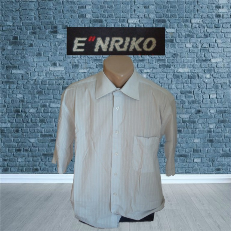 E'nriko брендовая рубашка мужская короткий рукав белая в полоску фото №1