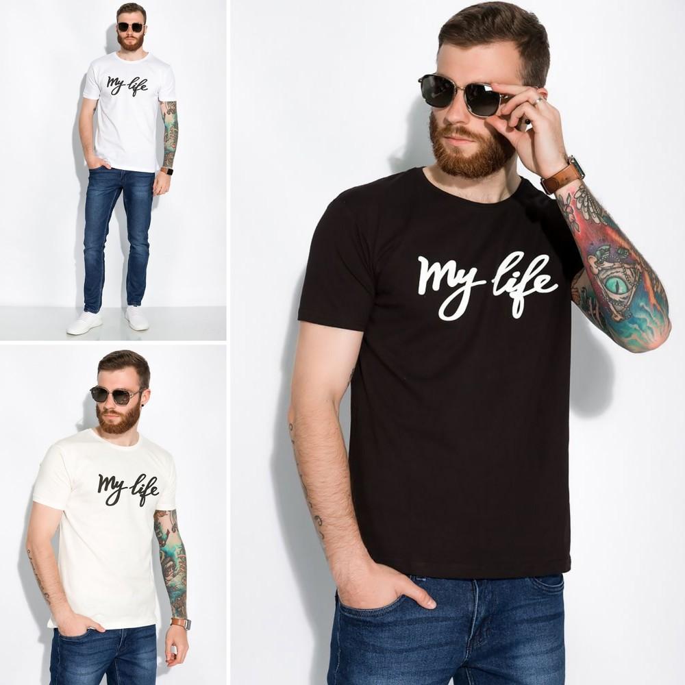 Стильная мужская футболка с надписью my life фото №1