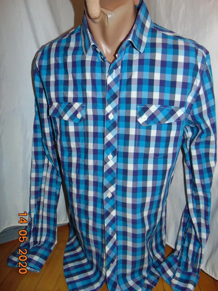 Катоновая нарядная брендовая стильная рубашка сорочка.jack&jones с-м . фото №1