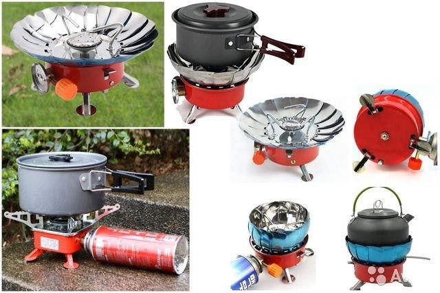 Портативная газовая плита горелка yc-301 с защитой от ветра и чехлом фото №1