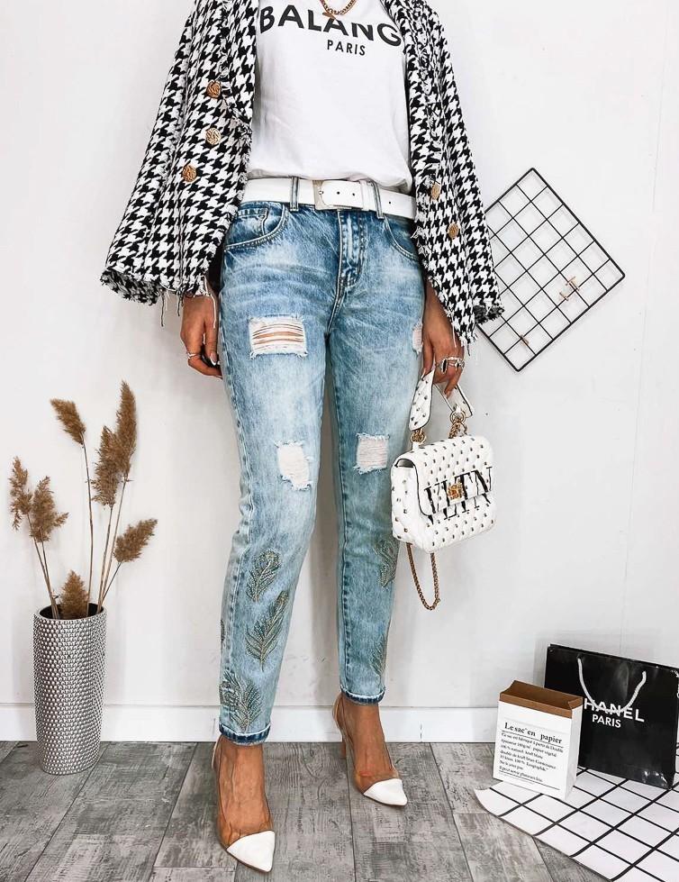 Стильные голубые джинсы мом женские р. 25-30 фото №1