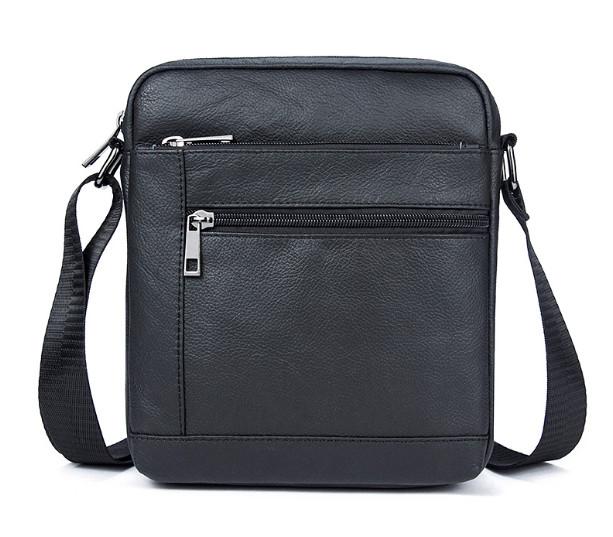 Черная мужская кожаная сумка на плечо фото №1