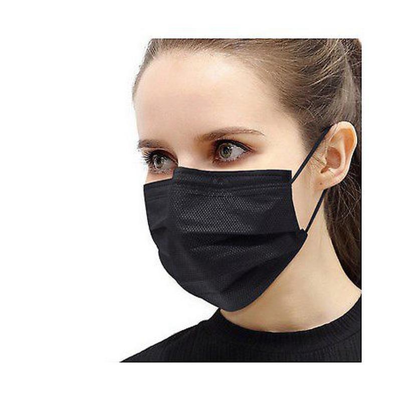 Медицинская маска черная защитная 80 шт фото №1