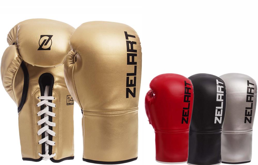 Перчатки боксерские на шнуровке zelart 1348: 10-14 унций, pu (4 цвета) фото №1