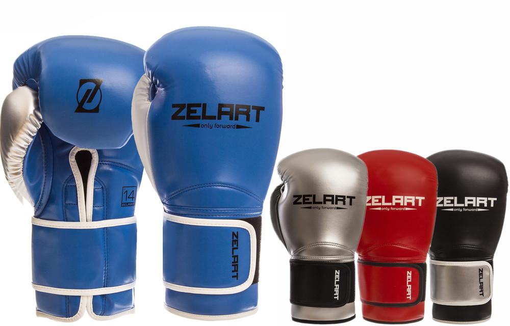 Перчатки боксерские на липучке zelart 1384: 10-14 унций, pu (4 цвета) фото №1