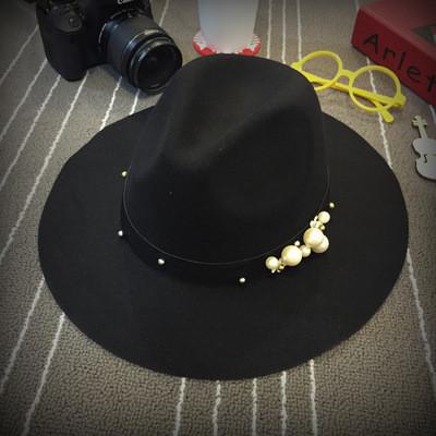 13-252 модная весенне-осенняя шляпа федора с жемчужинами женская шляпа с широкими полями фото №1