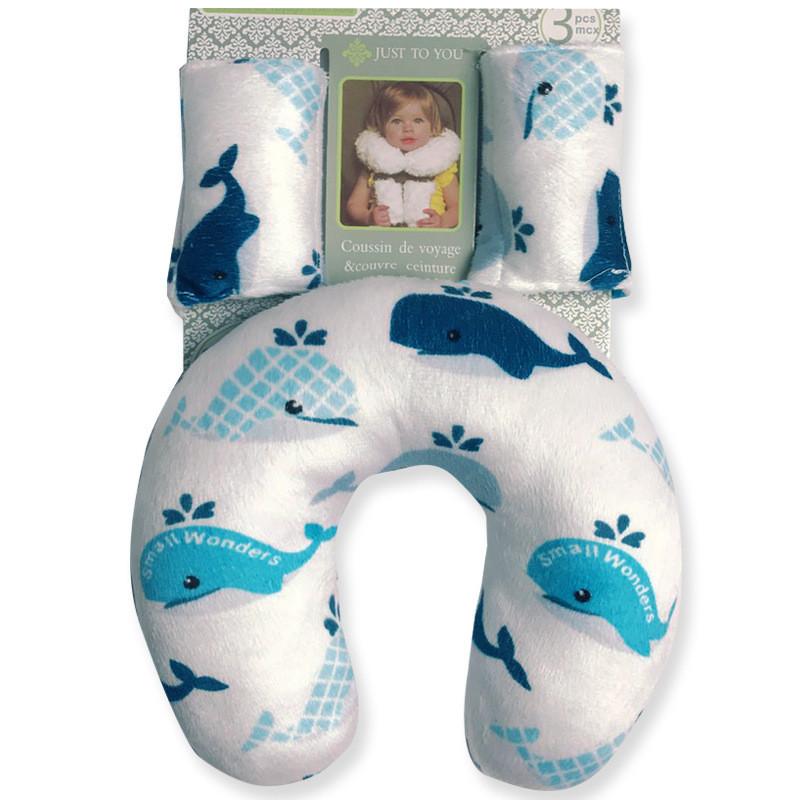 Подушка под шею с накладками на ремень для новорожденного. синие киты. фото №1
