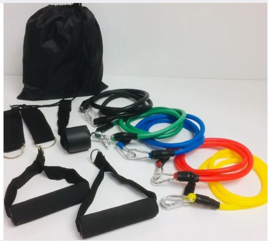 Набор трубчатых эспандеров для фитнеса u-powex 5 штук в мешочке фото №1