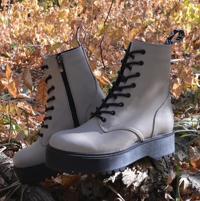 Бежевые ботинки, женские кожаные ботинки 36-41 фото №1