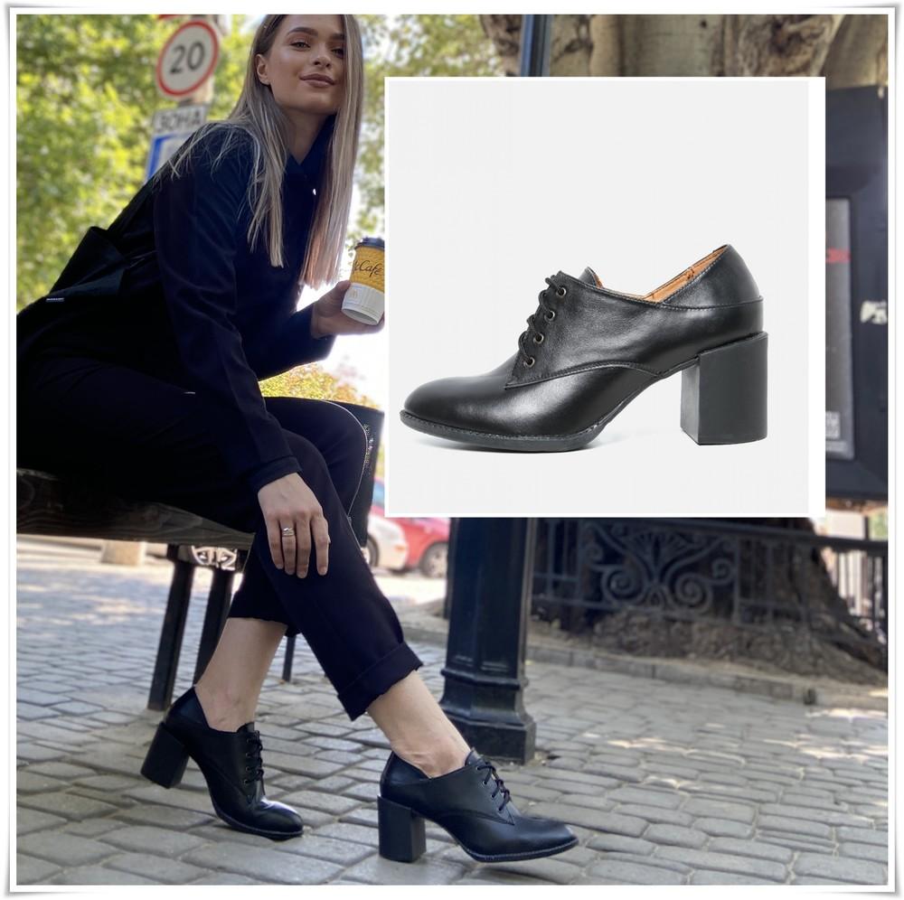 Закрытые черные кожаные туфли на каблуке, туфли полуботинки кожа фото №1